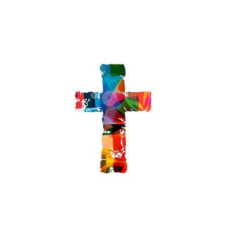 Vector illustration of colorful cross isolated on white background Vettoriali