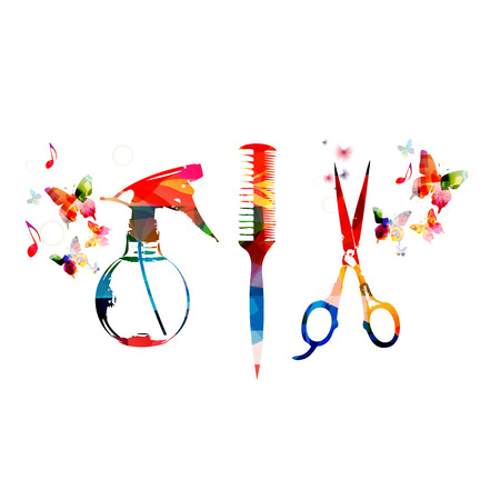 Hairdressing tools background with colorful comb, scissors and sprayer Çizim