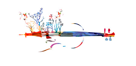 Colorful music background with violin and trees Illustration