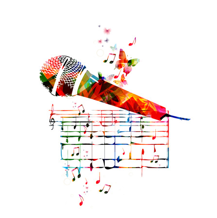 Vector illustration of colorful microphone with music notes Çizim