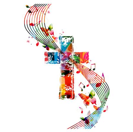 složení: Vektorové ilustrace barevné kříž s motýly Ilustrace