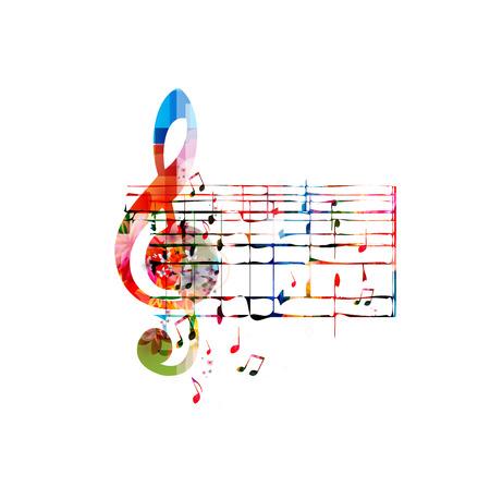 Fond coloré de musique avec G-clef et les papillons