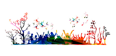Illustrazione vettoriale di colorata folla concerto