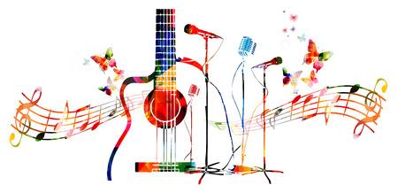 Fondo colorido de instrumentos musicales con mariposas