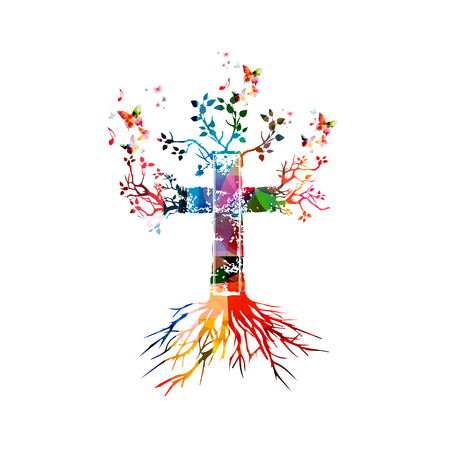 Vector illustration of colorful cross with butterflies Ilustração