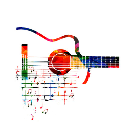 Vector illustration of colorful guitar with music notes Ilustração