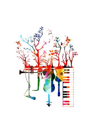 Creatieve muziek concept vector illustratie, muziekinstrumenten, piano keyboard, gitaar, trompet, microfoon, saxofoon en cello. Design for poster, brochure, overleg, muziek festival, muziek winkel
