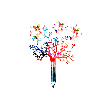 article writing: Colorful pencil tree vector illustration with butterflies. Design for creative writing and creation, storytelling, blogging, education, book cover, article and website content writing, copywriting