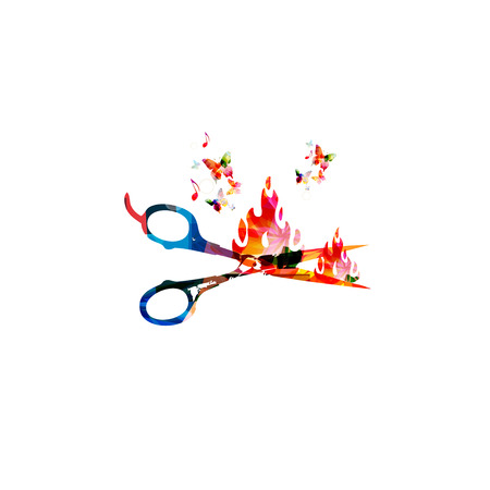 stylish hair: Colorful open scissors vector illustration with butterflies. Creative design for hair and beauty salon, fashion equipment, hairdresser trimming, haircut, stylish makeover and professional treatments