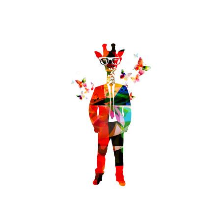 urban fashion: Colorful giraffe hipster vector illustration with butterflies Giraffe head man design for dressed up animals, fashion animals, hipster animals, urban city looks, fashion trendsetter, city fashion