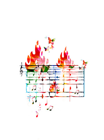 stave: Creative music concept vector illustration, colorful music stave with notes and g-clef, butterflies and fire flames. Design for poster, card, brochure, flyer, concert, music festival, music shop Illustration