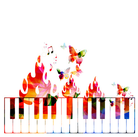 fire flower: Creative music concept vector illustration, music instruments, piano keyboard on fire, flower ornamented elements. Design for poster, card, brochure, flyer, concert, music festival, music shop