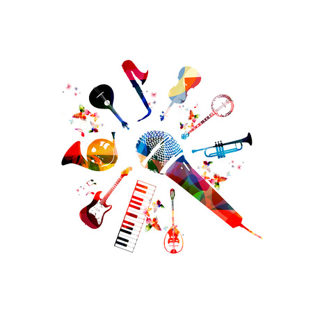 Music instruments template vector illustration, colorful guitar, microphone, piano keyboard, french horn, saxophone, trumpet, violoncello, contrabass, banjo, traditional Portuguese guitar, bouzouki