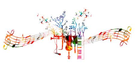 Creative muziekstijl sjabloon met muziekinstrumenten, kleurrijke gitaar, microfoon, piano keyboard, saxofoon, trompet, cello, contrabas. Music vector illustratie met muziek personeel en notities