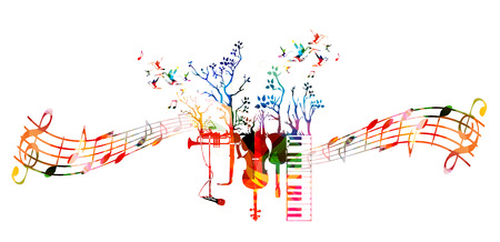 Creative music style template with music instruments, colorful guitar, microphone, piano keyboard, saxophone, trumpet, violoncello, contrabass. Music vector illustration with music staff and notes