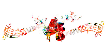 music staff: Creative music concept vector illustration, colorful piano and violoncello, music instruments with music staff and notes. Design for poster, music concert, festival, music shop, music style template