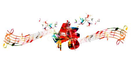 la música ilustración concepto creativo del vector, colorido piano y violoncello, instrumentos musicales con personal de la música y las notas. Diseño de cartel, concierto de música, festival, tienda de música, plantilla estilo de música