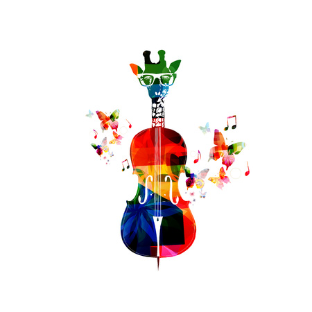 violoncello: Creative music concept vector illustration, colorful giraffe hipster with butterflies. Giraffe head violoncello, hipster animals, string music instrument with music notes. Music style template