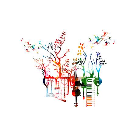 Muziekinstrumenten template vector illustratie, kleurrijke gitaar, microfoon, piano keyboard, saxofoon, trompet, cello, contrabas, banjo, traditionele Portugese gitaar, mandoline, muziekstandaard Vector Illustratie