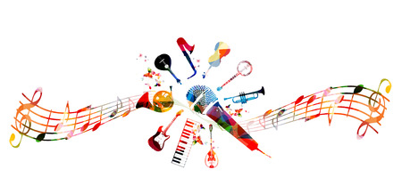 Creative music style template vector illustration, colorful guitar, microphone, piano keyboard, french horn, saxophone, trumpet, violoncello, contrabass, banjo, traditional Portuguese guitar, bouzouki Illustration