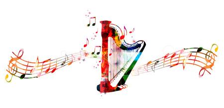Ilustración de vector de plantilla de estilo de música creativa, arpa de concierto colorido, instrumento de música con fondo de notas y personal de música. Diseño para póster, folleto, concierto, festival de música, tienda de música.