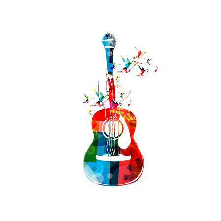 Creativo stile musicale illustrazione template, chitarra acustica colorato con microfono, stringa di strumento musicale con colibrì sfondo. Design for manifesto, concerto, festival di musica, negozio