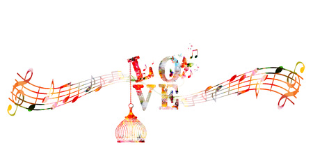 Decorative love text with music staff and notes. Colorful calligraphic inscription, lettering design, typographic vector background for poster, brochure, card, banner, web, site, advertising and print Illustration