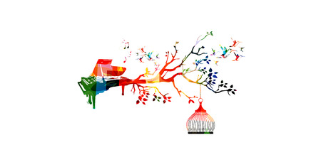Creative music style template vector illustration, colorful piano, nature inspired instrument background with hummingbirds. Design for posters, brochures, banners, concert, music festival, music shop Illustration