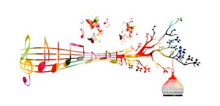 創造的な音楽スタイル テンプレート ベクトル イラスト、ノートの背景を持つカラフルな音楽スタッフ。心に強く訴える表記デザイン ポスター、カ