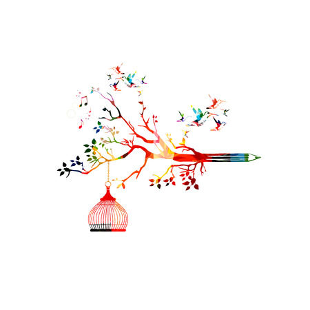 content writing: Colorful pencil tree vector illustration with hummingbirds. Design for creative writing and creation, storytelling, blogging, education, book cover, article and website content writing, copywriting