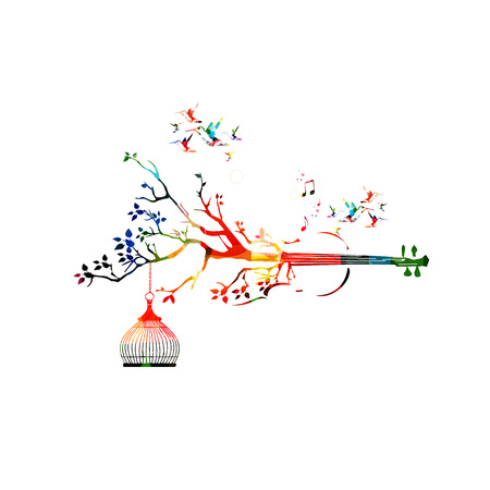 violoncello: Creative music style template vector illustration, colorful violoncello, nature inspired instrument background with birds. Design for posters, brochures, banners, concert, music festival, music shop