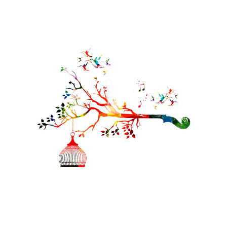 violoncello: Creative music style template vector illustration, colorful violoncello pegbox, nature inspired instrument background. Design for posters, brochures, cards,banners, concert, music festival, music shop Illustration