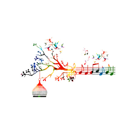 Creative music style template vector illustration, colorful music staff with notes background. Inspirational notation design for posters, cards, brochures, banners, concert, music festival, music shop