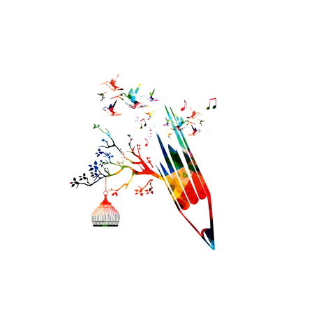 article writing: Colorful pencil tree vector illustration with hummingbirds. Design for creative writing and creation, storytelling, blogging, education, book cover, article and website content writing, copywriting
