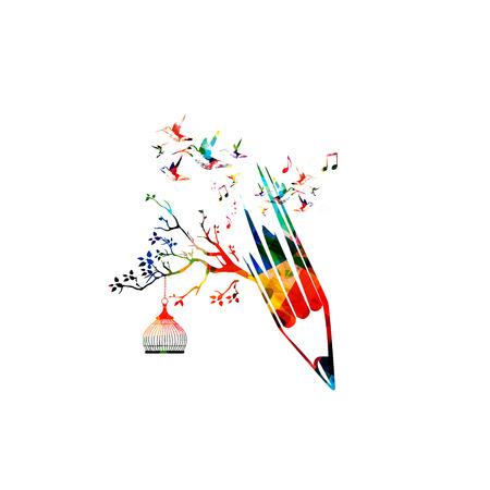 Ilustración vectorial colorido árbol de lápiz con los colibríes. Diseño para la escritura creativa y la creación, la narración, los blogs, la educación, de libro, artículo y redacción de contenidos web, redacción