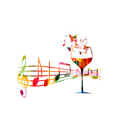 Creative music style template vector illustration, colorful wine glass with music staff and notes, wine event background, celebration. Design for poster, brochure, banner, concert, festival invitation
