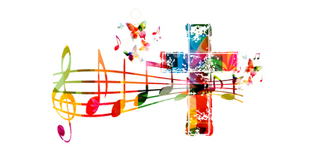 Creative muziekstijl template vector illustratie, kleurrijk kruis met muziek personeel en notities achtergrond. Religie themed ontwerp voor gospel kerkmuziek en concert, koor zingen, christendom, gebed