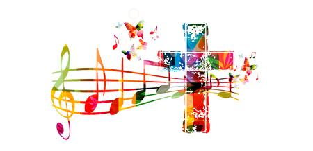 Oszczędny styl muzyczny ilustracji szablon, kolorowe krzyż z personelem muzyka i notatki tle. Religia tematyce projektowania dla muzyki gospel kościoła i koncert, śpiew chóru, chrześcijaństwo, modlitwa