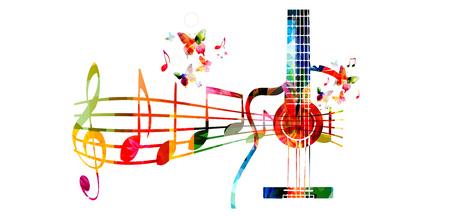 創造的な音楽スタイル テンプレート ベクトル イラスト、音楽スタッフとノート、音楽の楽器の背景とカラフルなギター。ポスター、パンフレット
