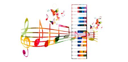 Creative muziekstijl template vector illustratie, kleurrijke piano toetsen met muziek personeel en notities, muziekinstrumenten achtergrond. Design for poster, brochure, banner, concert, festival en muziek winkel
