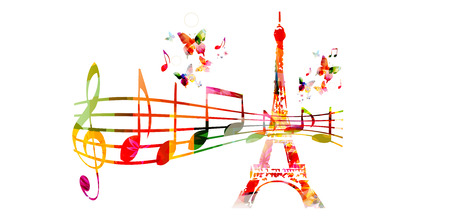 Creative music style travel template vector illustration, colorful Eiffel Tower with music staff and notes, musical Paris background. French landmark design for poster, brochure, banner, festival
