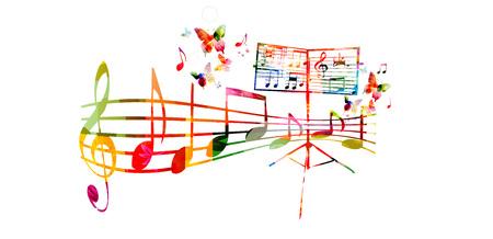 創造的な音楽スタイル テンプレート ベクトル イラスト、音楽スタッフとノート、聖歌隊の歌の背景とカラフルな譜面台。ポスター、パンフレット