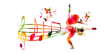 Creative music style template vector illustration, colorful music staff and notes with woman silhouette dancing, dancer performance background. Design for poster, brochure, banner, concert, festival Stock Illustratie