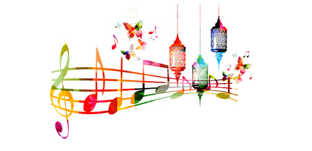traditional events: Creative music style template vector illustration, colorful Ramadan lamps with music staff and notes, Muslim celebrations and festivals background. Festive arabic lamps and traditional events design