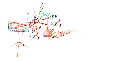 Creative music style template vector illustration, colorful music stand with music staff and notes, nature inspired background. Design for poster, brochure, banner, concert, festival and music shop