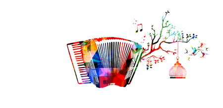 Creative music style template vector illustration, colorful accordion, nature inspired instrument background with birds. Design for poster, flyer, brochure, banner, concert, music festival, music shop Illustration
