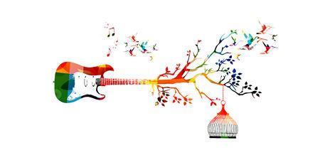 vecteur modèle Creative style de musique illustration, guitare coloré, inspiré de la nature instrument de fond avec des oiseaux. Design for affiche, brochure, bannière, flyer, concert, festival de musique, magasin de musique