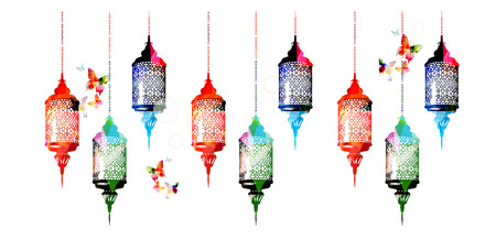 traditional events: Colorful Ramadan Kareem lamps with butterflies vector illustration. Muslim celebrations, festivals and traditional events background. Festive arabic lamps design for card, invitation, brochure, banner