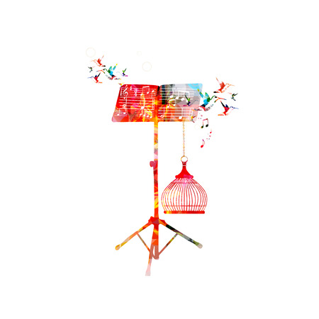 Creative music style template vector illustration, colorful music stand with music notes and birds, nature inspired background. Design for poster, brochure, banner, concert, festival and music shop