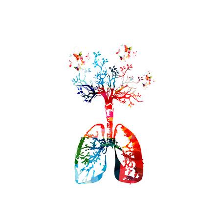 다채로운 건강 한 라이프 스타일 템플릿 디자인 배경, 벡터 일러스트 레이 션. 나무, 인체 내장 및 호흡기, 의학, 건강 관리, 건강, 예방과 인간 폐 해부 일러스트
